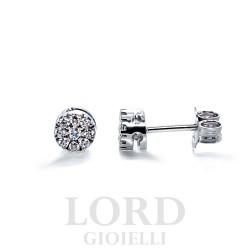 Orecchini Donna Punto Luce Pavè di Diamanti in oro Bianco - Elli's