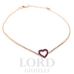 Bracciale Donna in Oro Rosa con Cuore con Rubini - Elli's