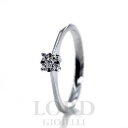 Anello Solitario in Oro Bianco Punto Luce Pavè di Diamanti ct. 0,06- Bibigi