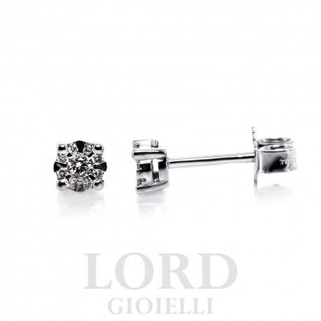 Orecchini in Oro Bianco Punto Luce Pavè di Diamanti ct. 0,12 - Bibigi