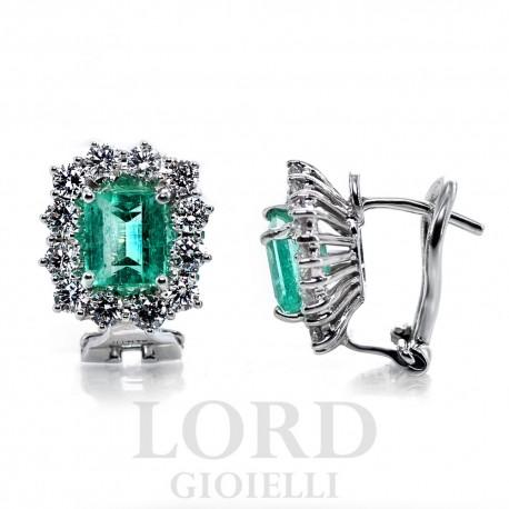 Orecchini a Monachina Smeraldi e Brillanti ct.2.06+ 1.11 GVS in Oro - Mirco Visconti