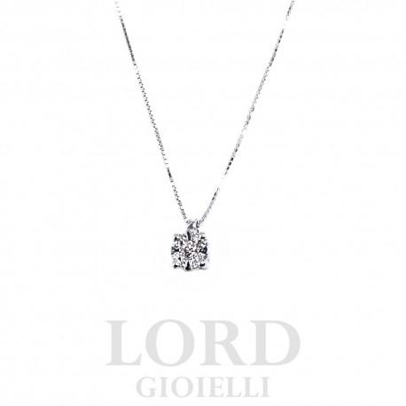 Collana in Oro Bianco Punto Luce Pavè di Diamanti ct. 0,06 - Bibigi