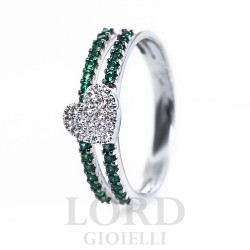 Anello Donna in Oro Bianco con Smeraldi 0,30 e Cuore di Diamanti 0,11 - Davite & Delucchi