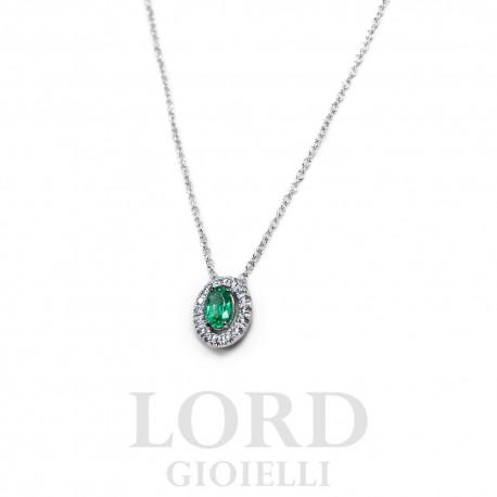 Collana Donna in Oro Bianco con Smeraldo e Brillanti - Davite & Delucchi