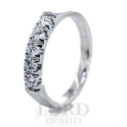 Anello Donna In Oro Bianco Riviera con 5 Diamanti ct.0.49 HP1/EC10 - Mirco Visconti