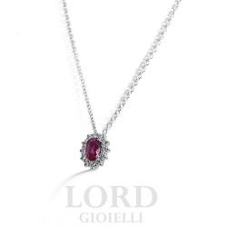 Collana Donna in Oro Bianco con Rubino e Diamanti ct. 0,55+0,22 - Davite & Delucchi