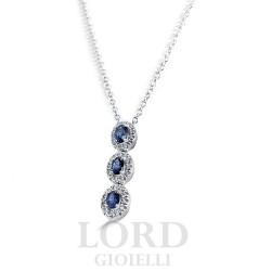 Collana Donna in Oro Bianco con Diamanti e Zaffiri Ct. 0.20+0,70 - Davite & Delucchi