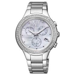 Orologio Donna in Acciaiao Eco-Drive Cronografo con Ghiera con Cristalli e Fondo Madreperla FB1321-56A - Citizen