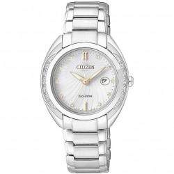 Orologio Donna In Acciaio Eco-Drive con Quadrante Bianco e Indici Rosè EW2250-59A - Citizen
