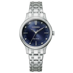 Orologio Donna In Acciaio Eco-Drive con Quadrante Blu e Indici con Cristalli EM0890-85L - Citizen
