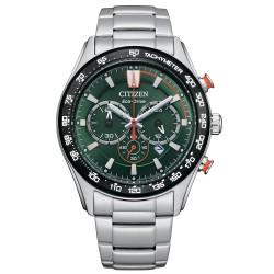 Orologio Uomo Eco-Drive in Acciaio Cronografo con Quadrante Verde CA4486-82X - Citizen