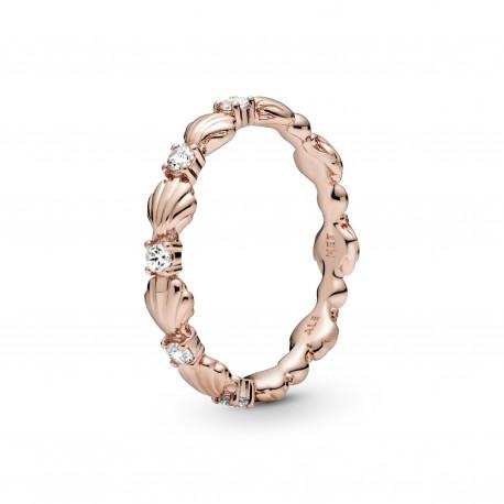Anello In Argento Rosè Conchiglie e Sfere Scintillanti - Pandora