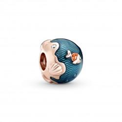 Charm in Argento Rosè Onde Scintillanti dell'Oceano e Pesci - Pandora