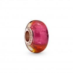 Charm In Argento Rosè Vetro di Murano Tramonto Luminoso - Pandora