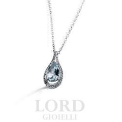 Collana Donna in Oro Bianco Goccia con Acquamarina e Diamanti ct. 1,50+0,19 - Davite & Delucchi