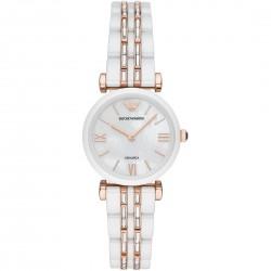 Orologio Donna Solo Tempo in Acciaio Rosè e Ceramica Bianca con Quadrante Madreperla AR70004 - Emporio Armani