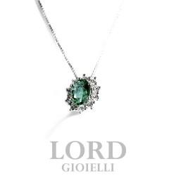 Collana Donna in Oro Bianco con Smeraldo 0,60 e Diamanti 0,32 - Davite & Delucchi