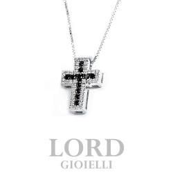 Collana Uomo Croce in oro Bianco con Diamanti ct. 0,13 e Diamanti Neri ct. 0,21 - Davite & Delucchi