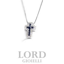 Collana Croce in oro Bianco con Diamanti ct. 0,10 e Zaffiri ct. 0,19 - Davite & Delucchi