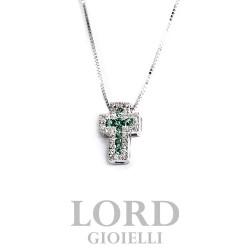 Collana Croce in Oro Bianco con Diamanti ct. 0,10 e Smeraldi ct. 0,15 - Davite & Delucchi