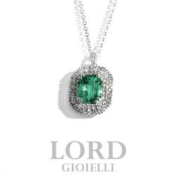 Collana Donna In Oro Bianco con Smeraldo Taglio Smeraldo ct. 1.29 con Brillanti ct. 0,31 G VS CLN011730 - Davite & Delucchi