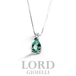 Collana Donna in Oro Bianco con Smeraldo ct.0.34 + Brillanti ct.0.02 CK0002BS264 - Bibigi