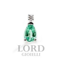 Orecchini Donna in Oro Bianco con Smeraldi ct.0.77 + Brillanti ct.0.04 OK0002BS264 - Bibigi