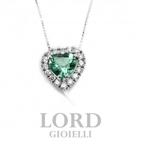Collana Donna in Oro Bianco con Cuore di Smeraldo ct. 0,38 + Brillanti ct. 0.12 CK0017BS55- Bibigi