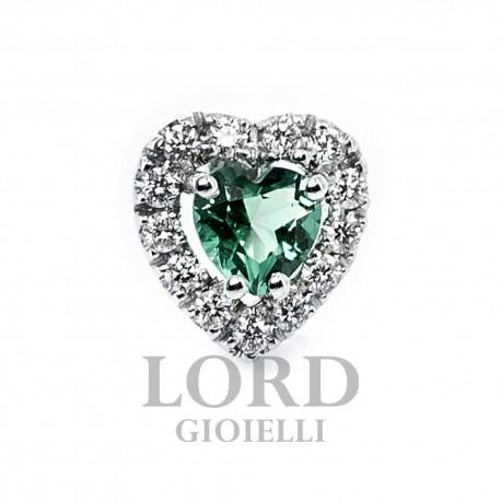 Orecchini Donna in Oro Bianco con Cuore di Smeraldo ct. 0,43 + Brillanti ct. 0.20 OK0017BS44- Bibigi