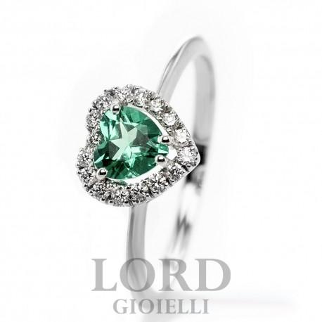 Anello Donna in Oro Bianco Cuore con Smeraldo ct.0,38 + Brillanti ct. 0,12 AK0017BS55  -Bibigi