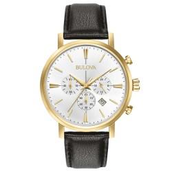 Orologio Uomo Cronografo in pelle con Cassa Dorata - Bulova