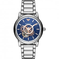 orologio Uomo Luigi Automatico in Acciaio con Quadrante Blu - Emporio Armani