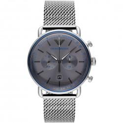 orologio Uomo Cronografo in Acciaio Maglia Milano con Quadrante Grigio AR11383 - Emporio Armani