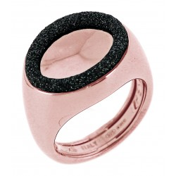 Anello Donna in Argento Rosè con Cerchi di polvere di diamanti nera WPLVA1956/XS - Pesavento