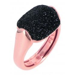 Anello Donna in Argento Rosè con Polvere di Diamanti Nera WPLVA1926/M - Pesavento