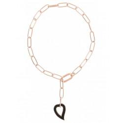 Collana Donna catena in Argento Rosè con Cuore Pendente con Polvere di Diamanti Nera WPLVE2039 - Pesavento