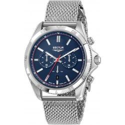 orologio Uomo 650 Cronografo in Acciaio Maglia Milano con Quadrante Blu - Sector