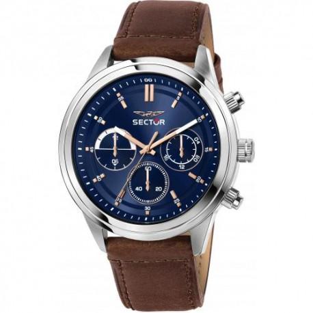 Orologio Uomo 670 Cronografo in Pelle Marrone con Quadrante Blu - Sector