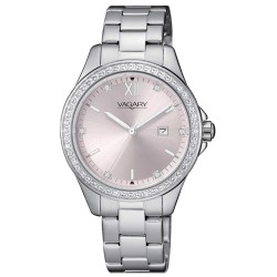 Orologio Donna in Acciaio con Quadrante rosa e Ghiera con Pietre - Vagary