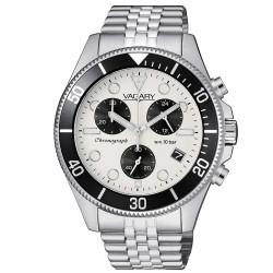 Orologio Uomo in Acciaio cronografo Quadrante Bianco e Ghiera Nera - Vagary