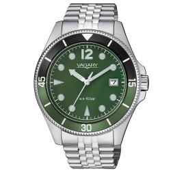 Orologio Uomo in Acciaio Solo tempo Quadrante e Ghiera Verde - Vagary