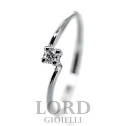 Anello Donna Solitario in Oro Bianco con Diamanti ct.0,07 - Elli's