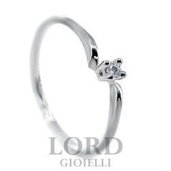 Anello Donna Solitario in Oro Bianco con Diamanti ct.0,03 - Elli's