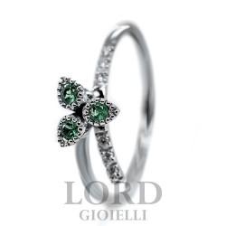 Anello Donna in Oro Bianco con Diamanti ct. 0,04 e Smeraldi ct. 0,17 - Davite & Delucchi