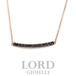 Collana in Oro Rosa con Bacchetta Tennis con Diamanti Neri ct.0,08 - Elli's