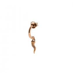Mono Orecchino Donna in Argento Rosè con Cornetto Zirconato - Rue Des Mille