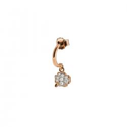 Mono Orecchino Donna in Argento Rosè con Quadrifoglio Zirconato - Rue Des Mille