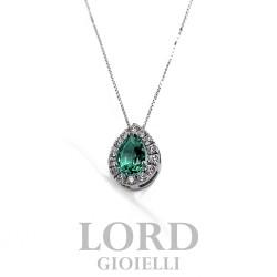 Collana Donna in Oro Bianco Goccia di Smeraldo ct. 0.32  con Brillanti ct. 0.11 - Bibigi