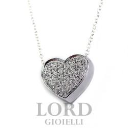 Collana Donna in oro Bianco Cuore con Diamanti ct. 0.39 G VS - Davite & Delucchi