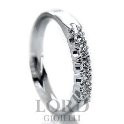Anello Donna Riviera in oro Bianco con  Cinque Diamanti ct. 0,20 - Davite & Delucchi
